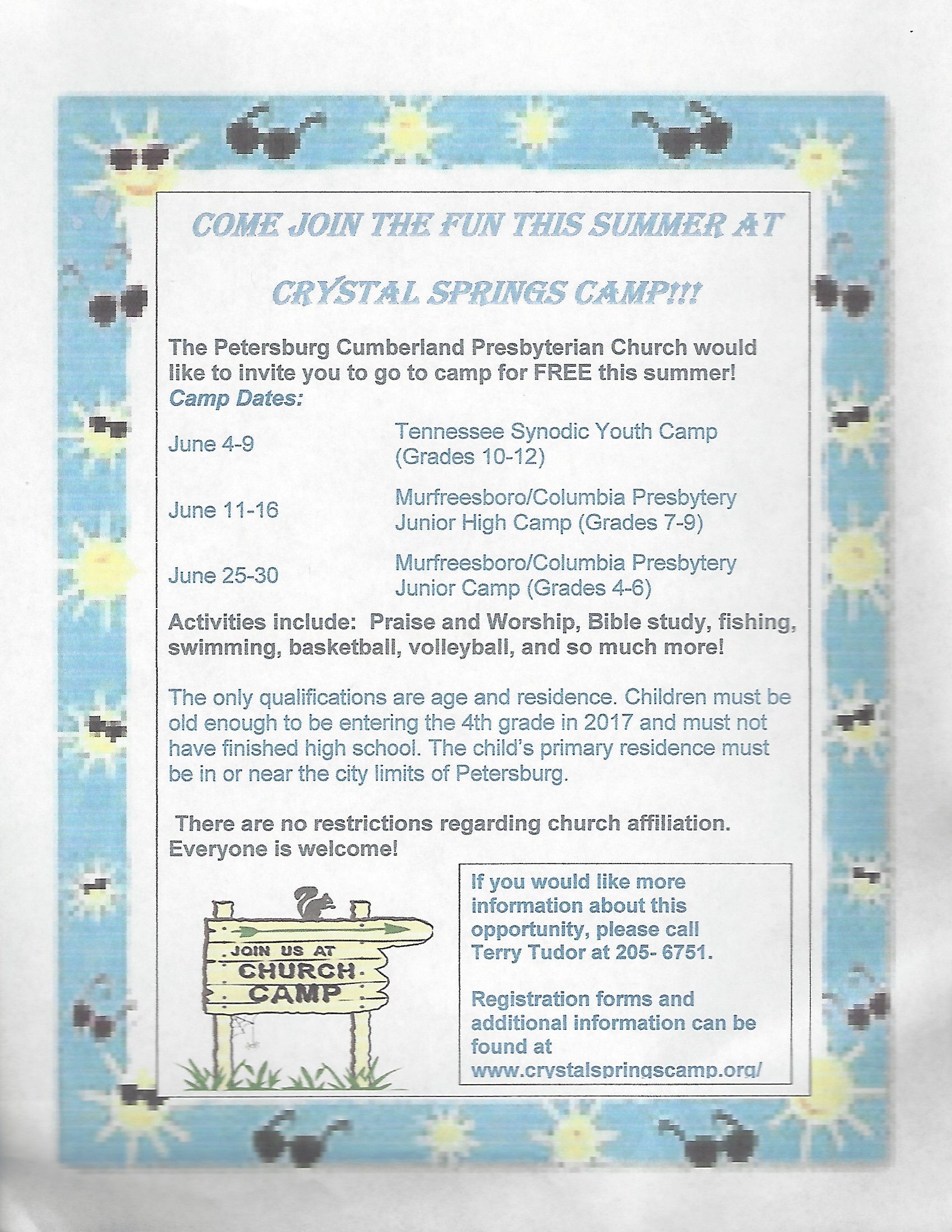 Free Church Camp Opportunity